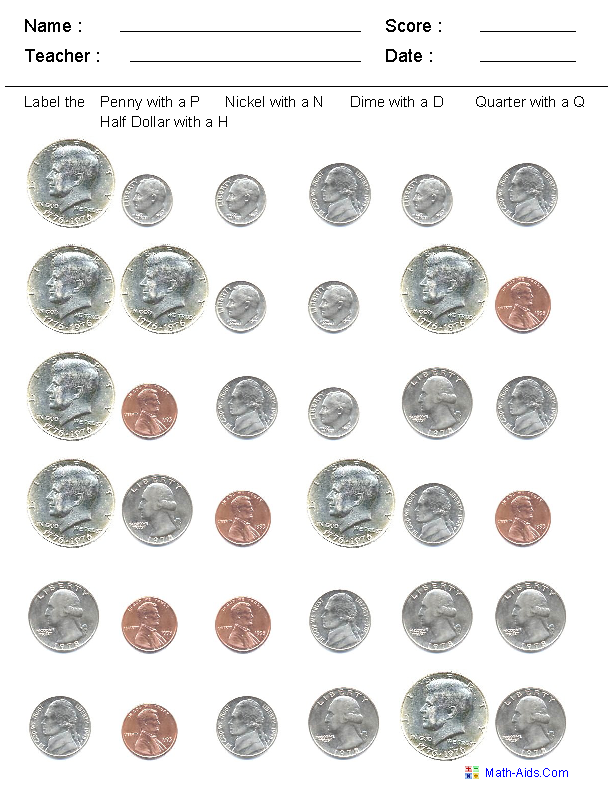 Identify the Coins Worksheets