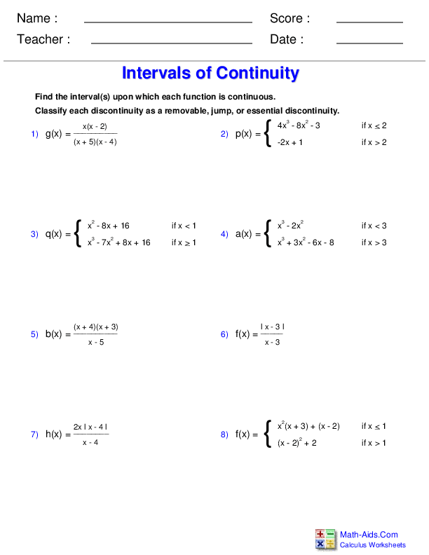 Determining Continuity Worksheets