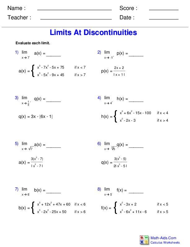 Evaluating Limits at Jump Discontinuities Worksheets