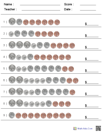 Custom Counting US Coins Worksheets