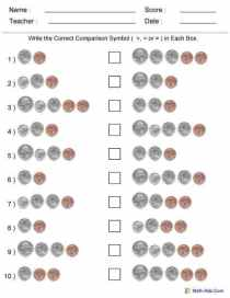 Comparing Two Groups of Coins Worksheets