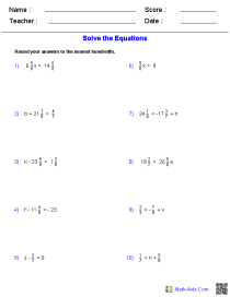 One Step Equations Worksheets Containing Fractions