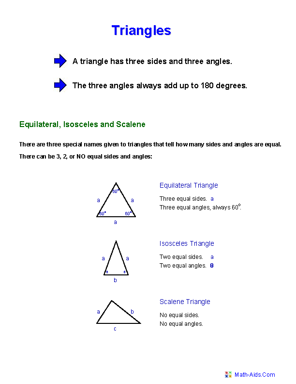 Triangle Facts Worksheets