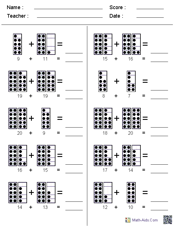 addition worksheets  dynamically created addition worksheets adding dot figures to twenty