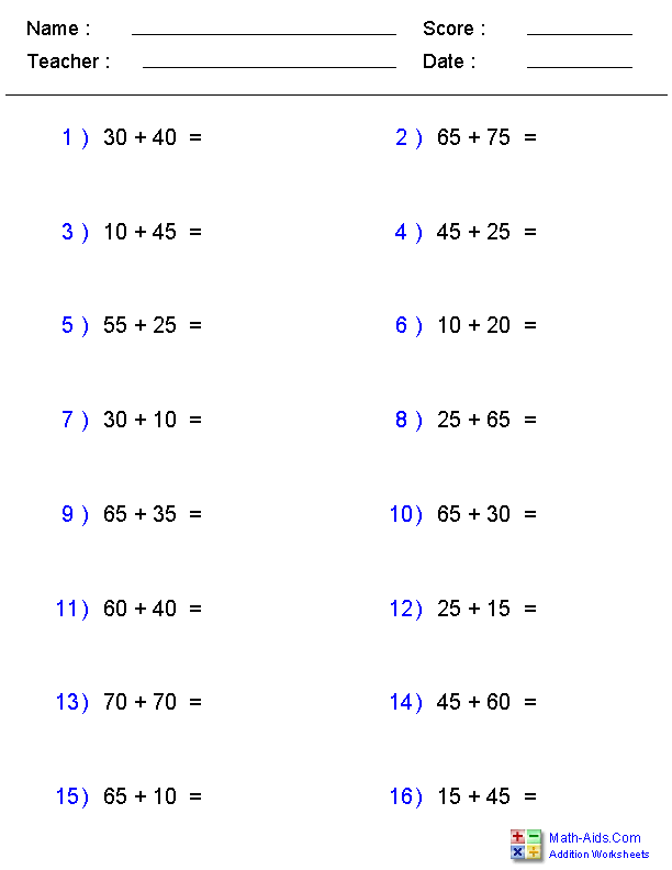 Adding Two Digit Numbers Ending in a Fixed Number Worksheets
