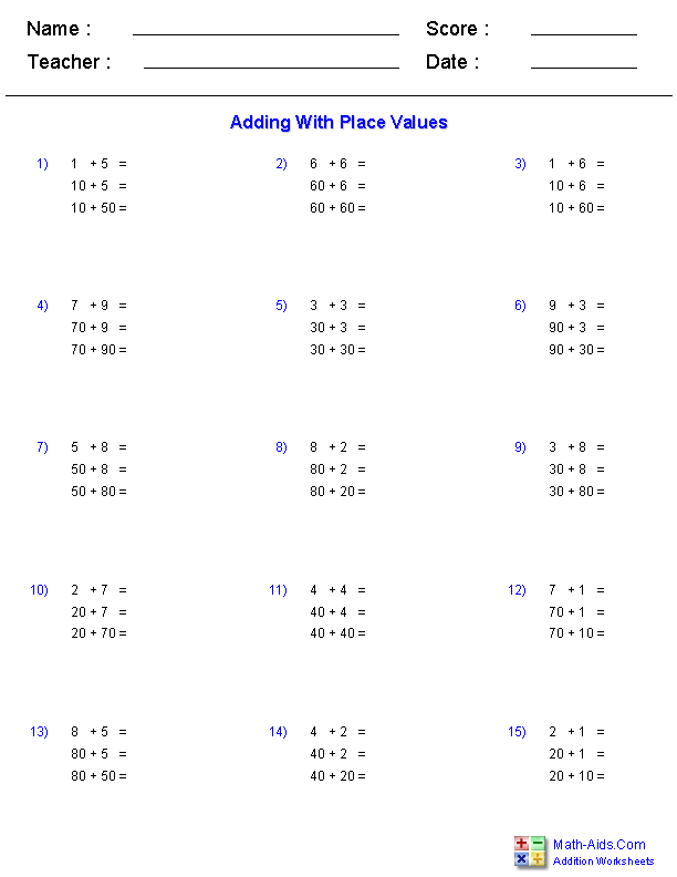 Adding with Place Values Worksheets