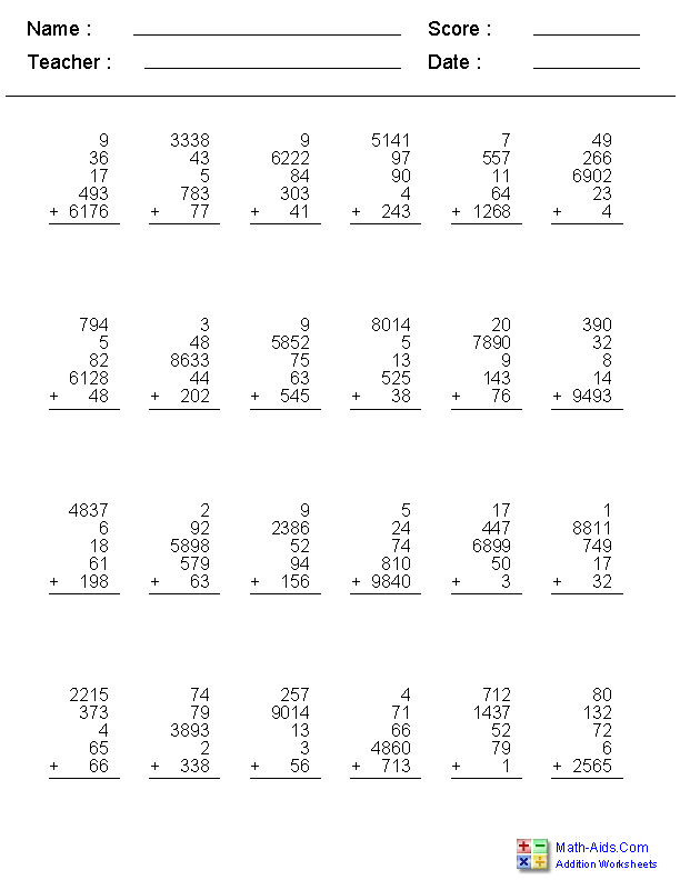 2, 3, 4, or 5 Addends with 1, 2, 3, or 4 Digits Worksheets
