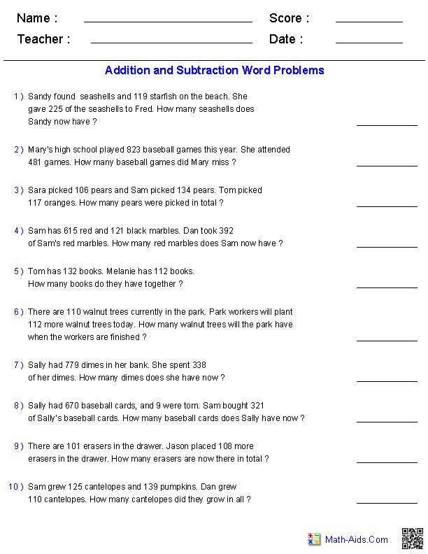 Word Problems Worksheets – Adding and Subtracting Three Digit Numbers Worksheet