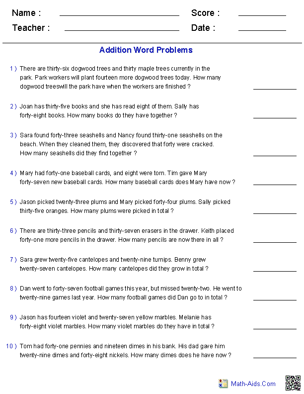 word problems worksheets  dynamically created word problems addition word problems using  digit with  addends