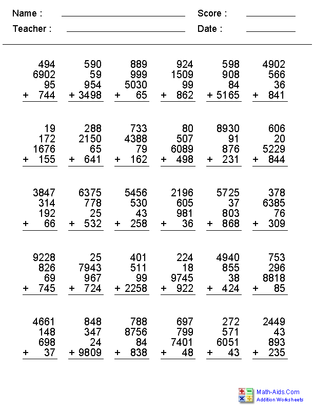 Addition Worksheets – 4 Digit Addition with Regrouping Worksheets