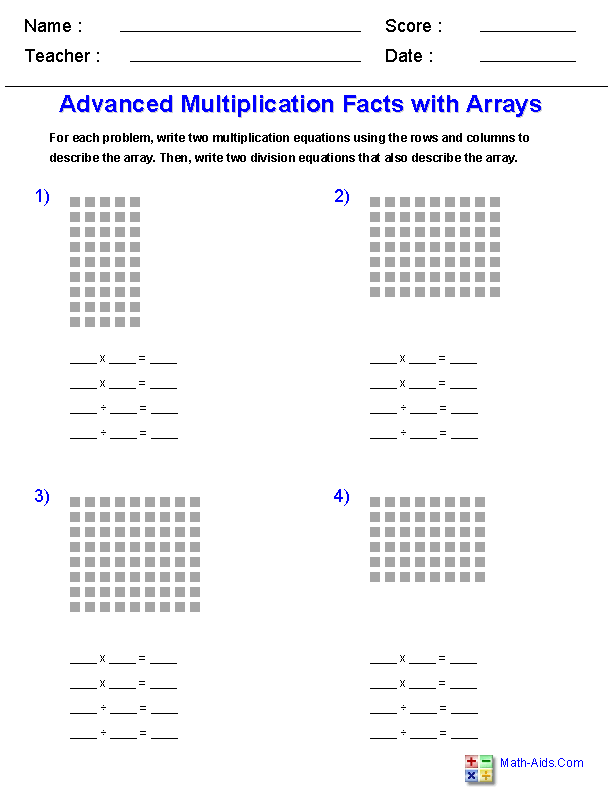 multiplication worksheets  dynamically created multiplication  advanced multiplication facts with arrays worksheets