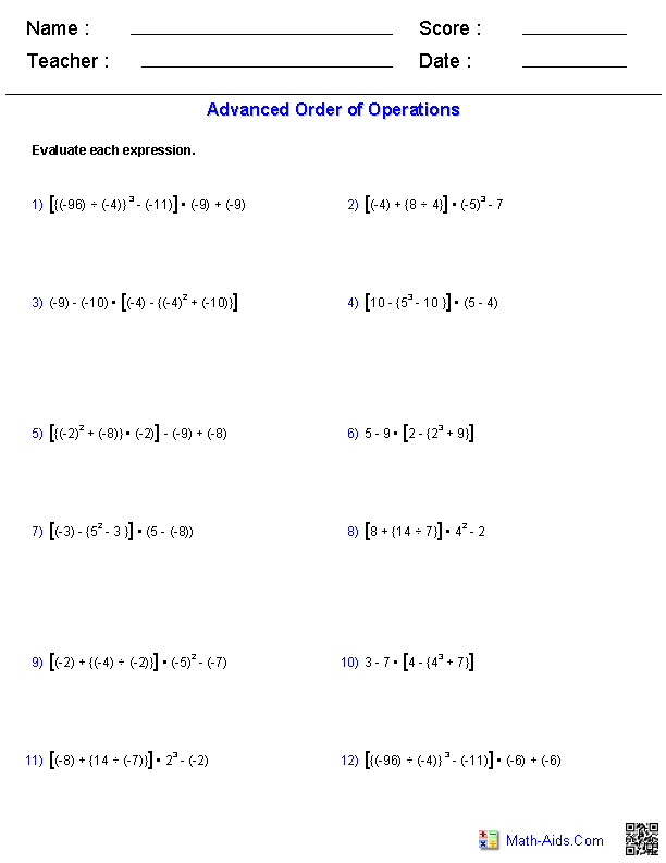 Printables Order Of Operations Worksheet With Exponents order of operations worksheets advanced problems