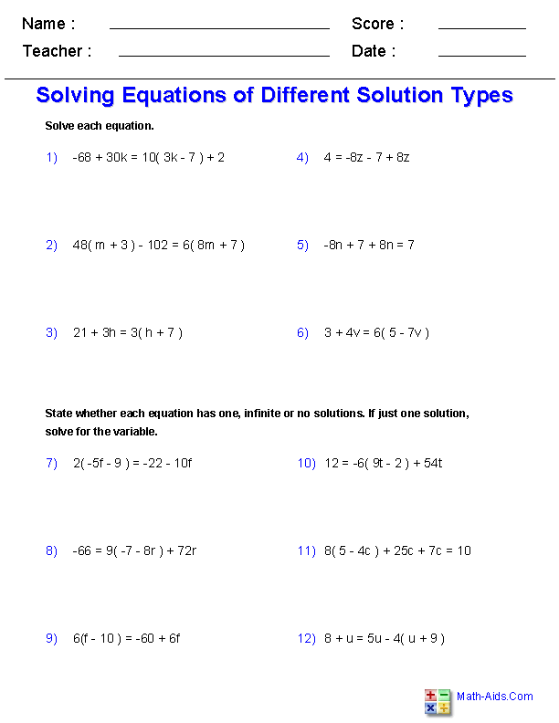 Free Printable Solving Equations Worksheet for Seventh Grade