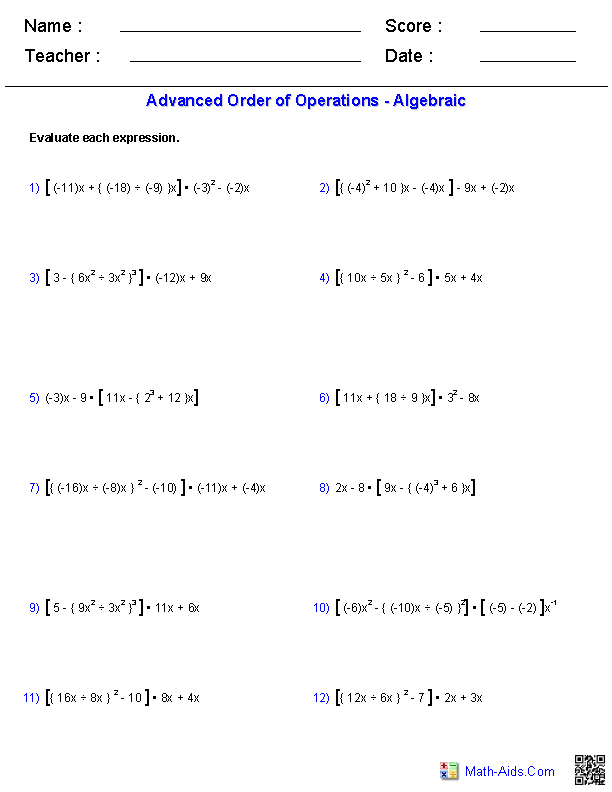 Printables Algebra 1 Order Of Operations Worksheets order of operations worksheets algebraic problems