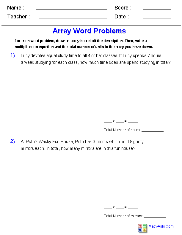 multiplication worksheets  dynamically created multiplication  with arrays worksheets