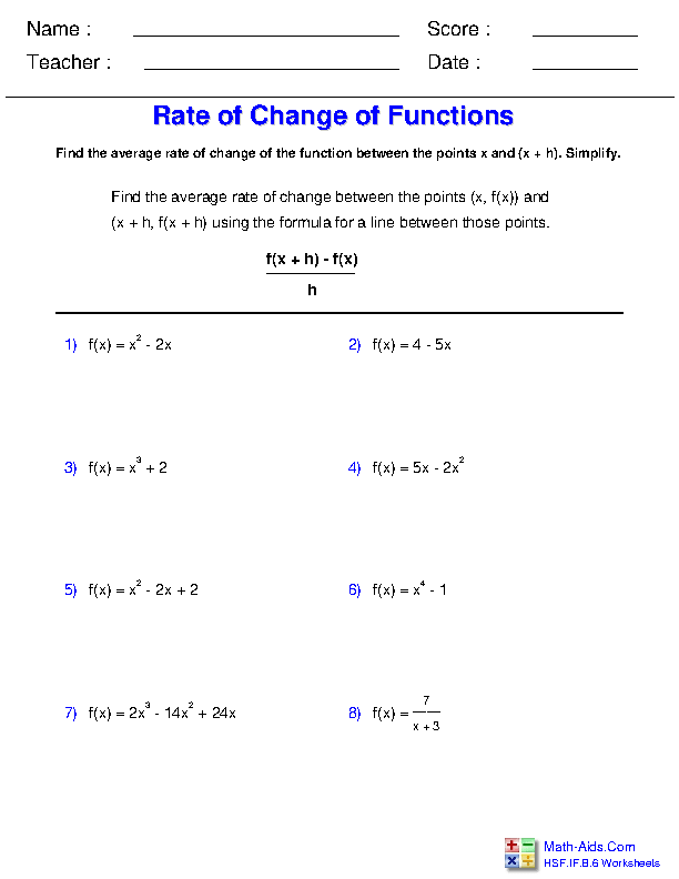 Average Rate of Change General Functions Worksheets