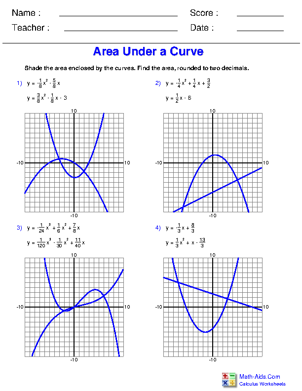 Area Between Curves Worksheets