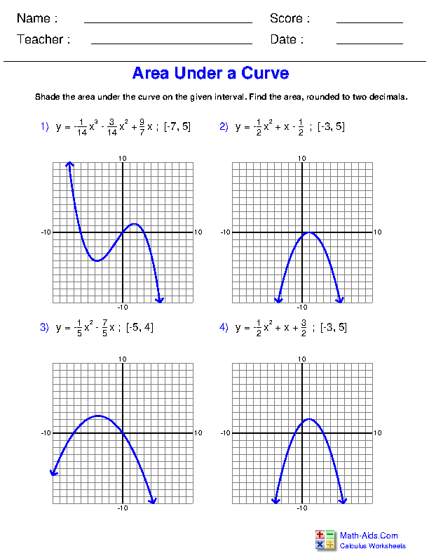 Area Under a Curve Worksheets
