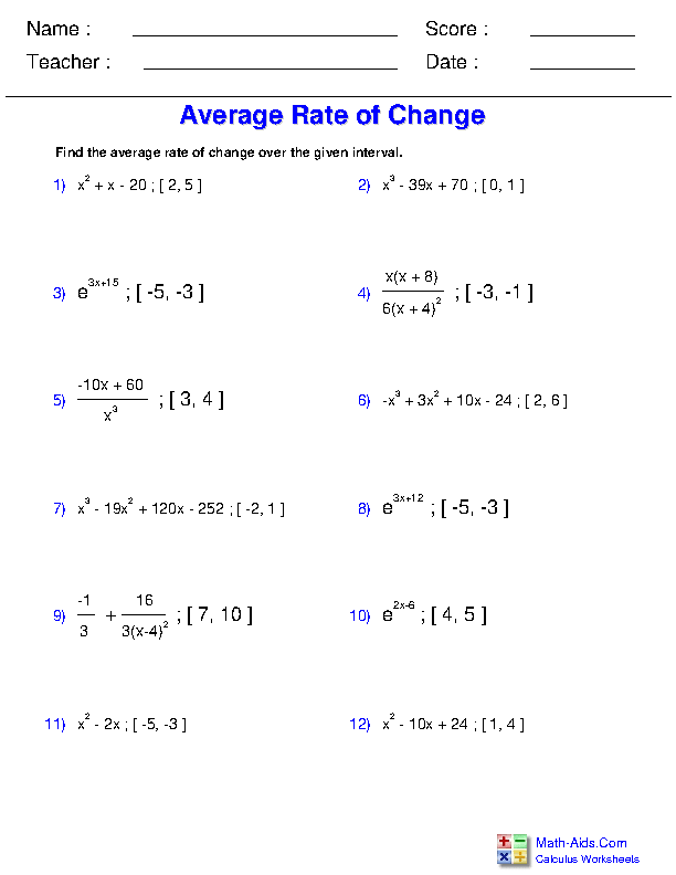 Average Rate of Change Worksheets