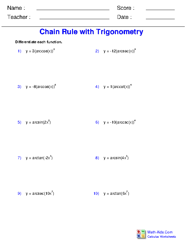 Chain Rule with Inverse Trigonometric Functions Worksheets