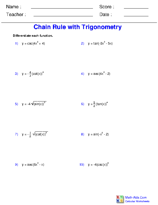Chain Rule with Trigonometry Worksheets
