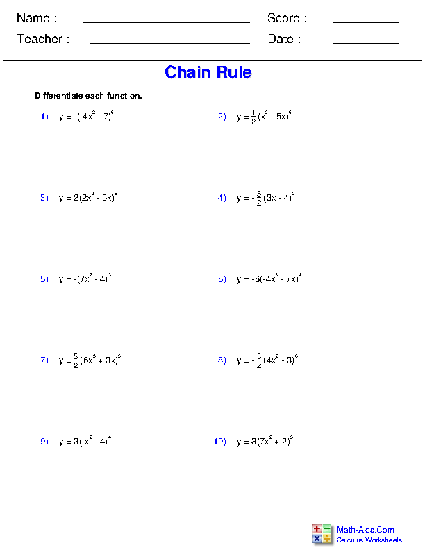 Chain Rule Worksheets