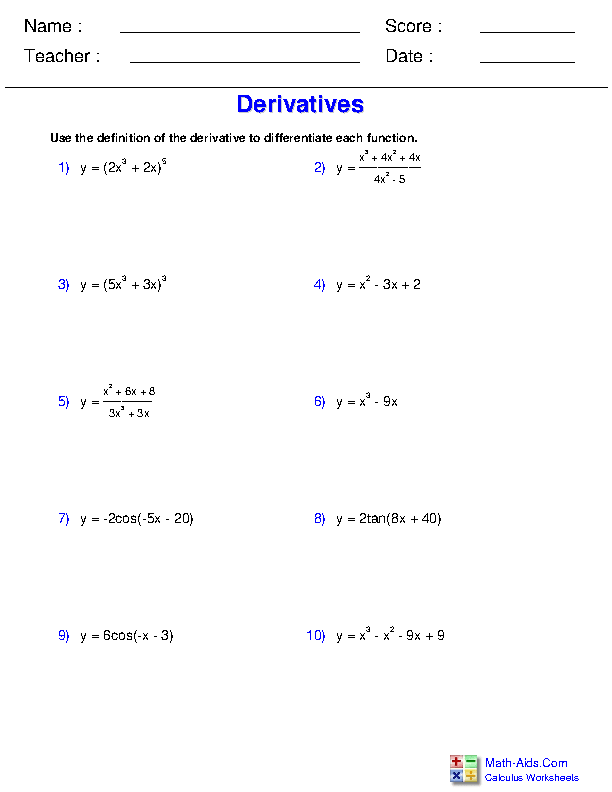 Definition of the Derivative Worksheets