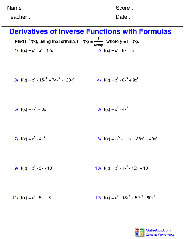 Derivatives of Inverse Functions Worksheets
