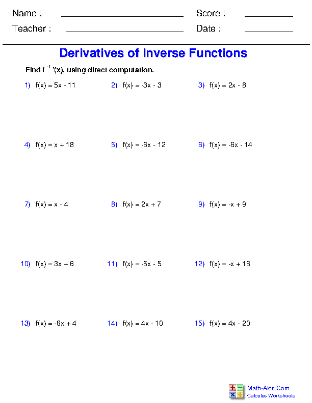 Derivatives of Inverse Functions by Direct Computation Worksheets