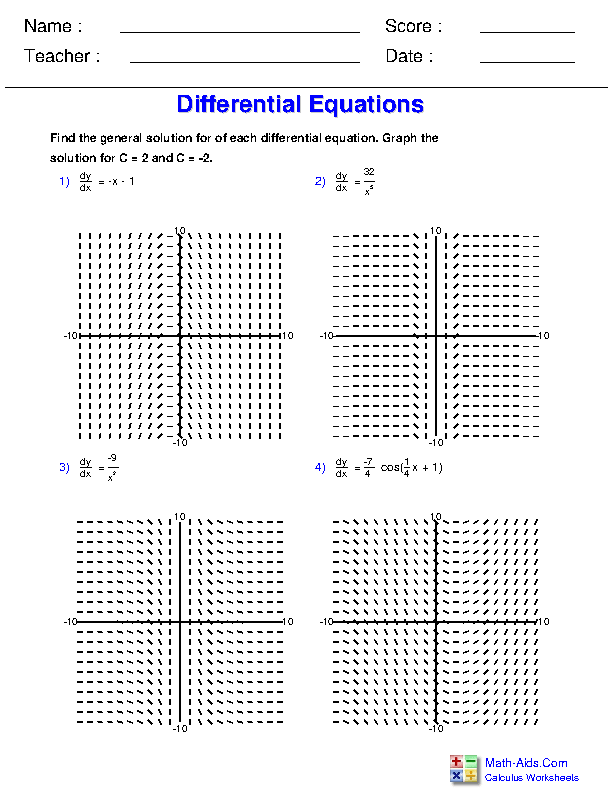 Differential Equation Slope Field Worksheets
