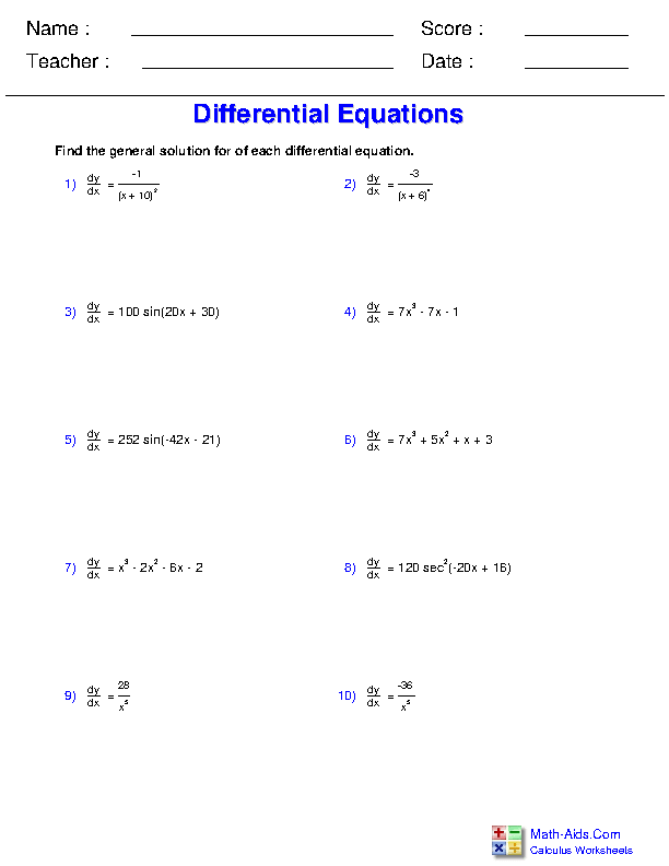 Differential Equation Worksheets