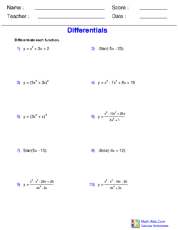 Differentials Worksheets