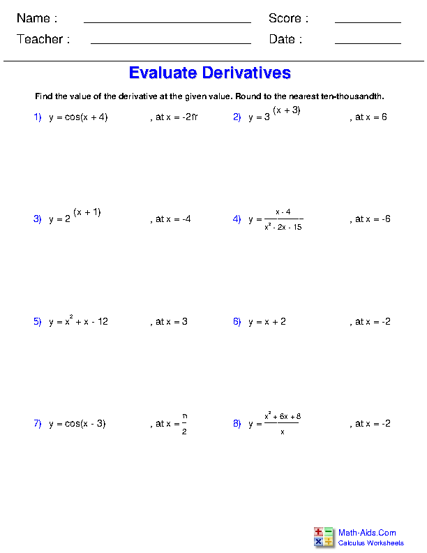 Evaluate a Derivative at a Point Worksheets