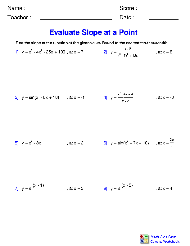 Evaluate Slope at a Point Worksheets