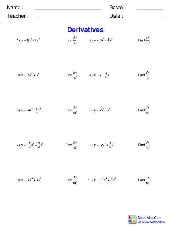 Higher Order Derivatives Worksheets