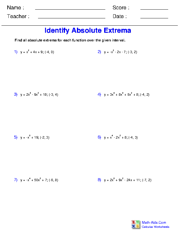 Identify Absolute Extrema Worksheets