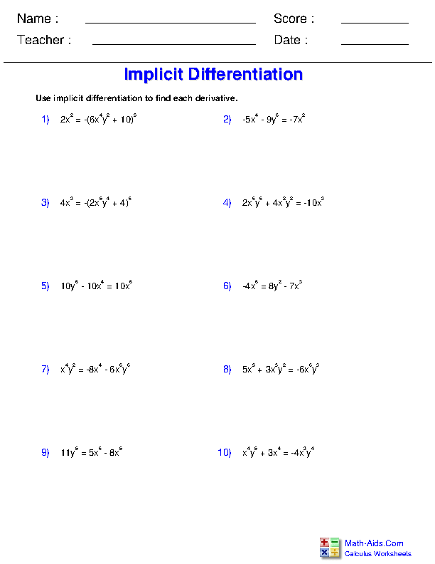 Implicit Differentiation Worksheets