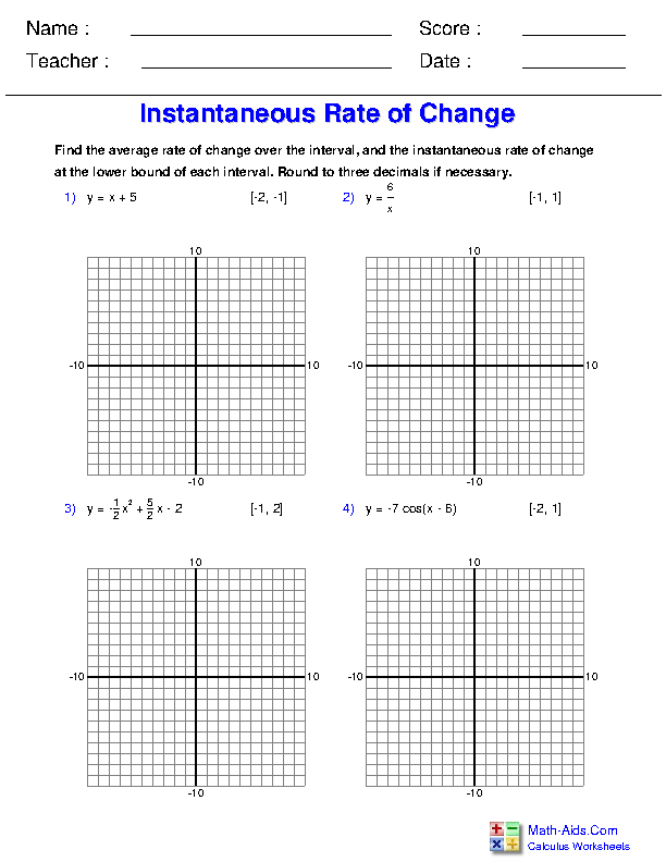 Instantaneous and Average Rate of Change Worksheets