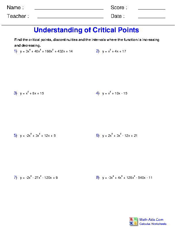 Understanding Critical Points Worksheets
