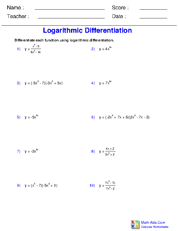 Logarithmic Differentiation Worksheets