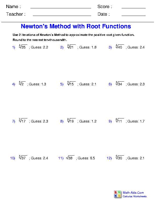 Newton's Method with Root Functions Worksheets