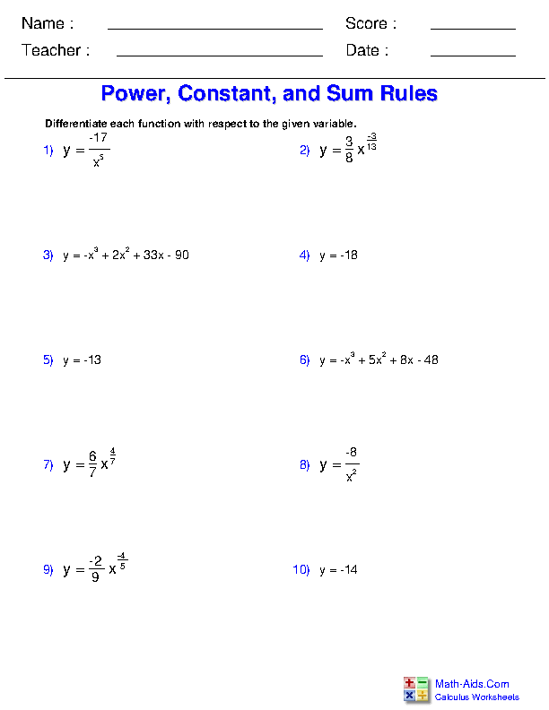 Power, Constant, and Sum Rules Worksheets