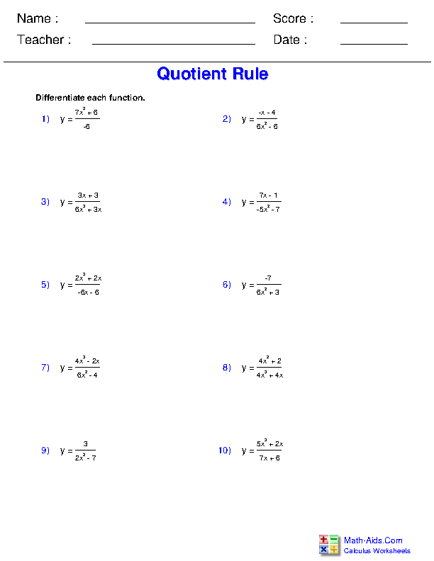 Quotient Rule Worksheets