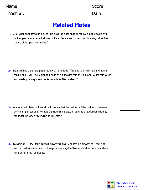 Related Rates Worksheets