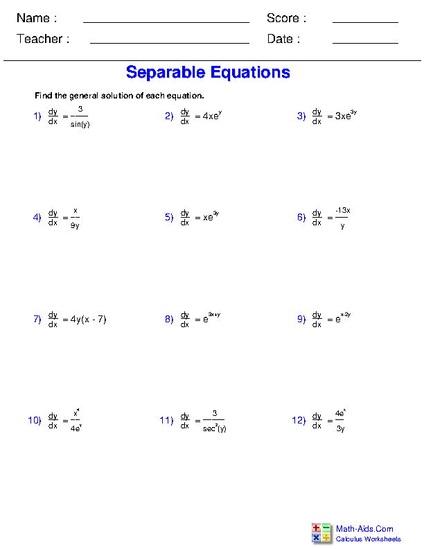 Solving Separable Equations Worksheets