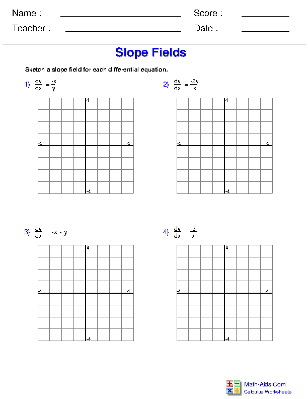 Drawing Slope Fields Worksheets