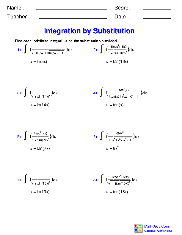 Substitution with Inverse Trigonometric Functions Worksheets