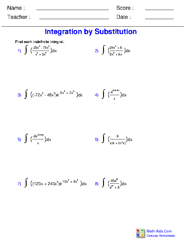 Substitution with Logarithmic and Exponential Functions Worksheets