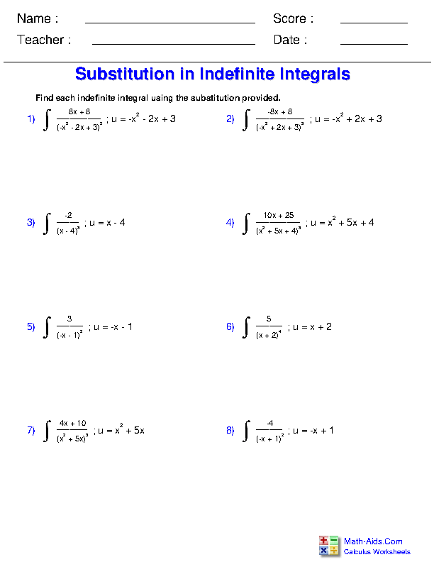Substitution with the Power Rule Worksheets