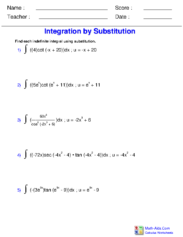 Substitution with Trigonometric Functions Worksheets